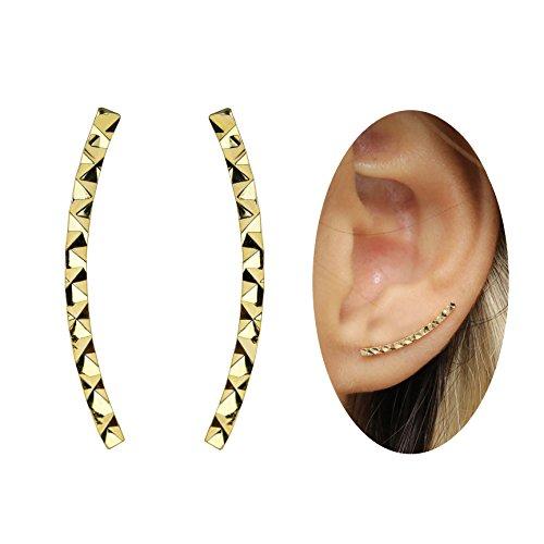- Minimalist Geometric Stud Ear Crawler Earrings in Gold Silver Rose Gold Fashion Ear Climber (Gold) - ECGC