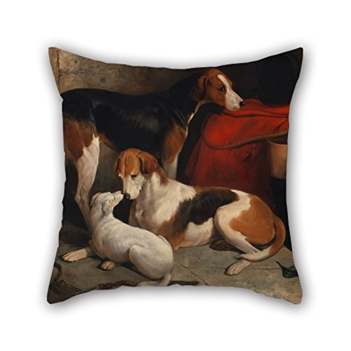 Alphadecor 18 X 18 Inches / 45 By 45 Cm Oil Painting William Barraud - A Couple Of Foxhounds With A Terrier, The Property Of Lord Henry Bentinck Throw Pillow - Kill The Puppy T Don