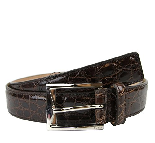 Gucci Men's Crocodile Classic Square Buckle Belt 223901 (105 / 42, Dark Brown)