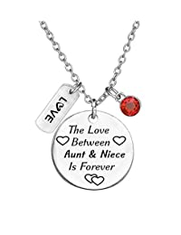 TISDA Birthstone Crystals Necklace,The Love Between Aunt and Niece is Forever Necklace Family Jewelry