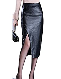 Cruiize Womens Stylish High Waist Leather Slit OL Office Bodycon Skirts
