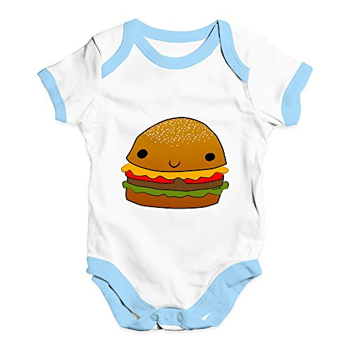 (Baby Grow Baby Romper Smiling Cheese Burger Baby Unisex Baby Grow Bodysuit 12-18 Months White Blue Trim)