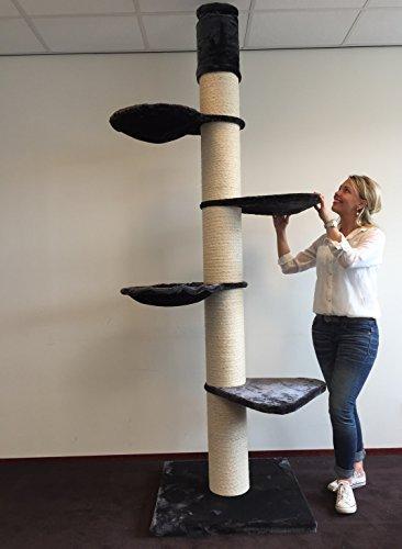 Árbol rascador gatos grandes Maine Coon Tower Antracita para gatos grandes Maine Coon, con postes de ...