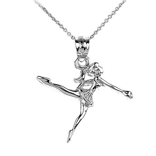 14k White Gold Ballerina Girl Charm Pendant Necklace, 22
