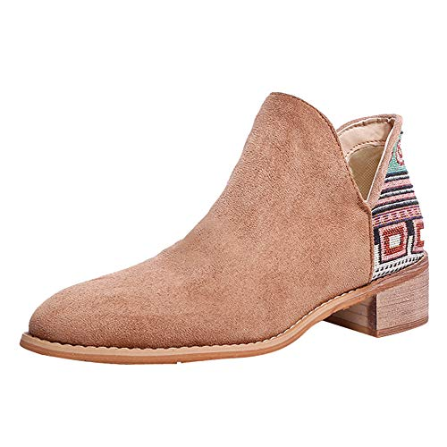 WILLTOO❤️❤️ Vintage Knitting Embroidery Square Heel Suede Slip-On Women Booties ()