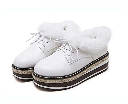 3 Eu White Toe Round Shoes Loose Bottom Plush Women British Platform 40 Thick Style Heel 5cm up Retro 5cm Lace Shoes 34 Size Wedge Casual XxzRnqwqd