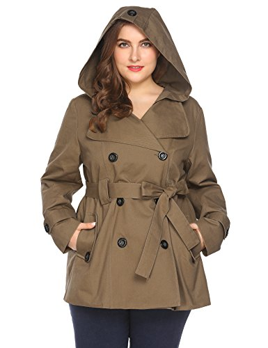(Women Plus Size Classic Hoodie Double-Breasted Solid Casual Trench Coat with Belt Khaki)