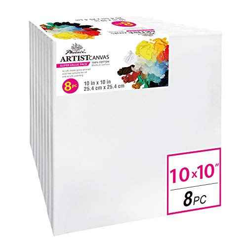 PHOENIX Pre Stretched Canvas for Painting - 10x10 Inch / 8 Pack - 5/8 Inch Profile of Super Value Pack for Oil & Acrylic Paint