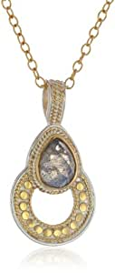 "Anna Beck Designs ""Gili Labradorite"" 18k Gold-Plated Labradorite Drop Open Pendant Necklace, 18"""