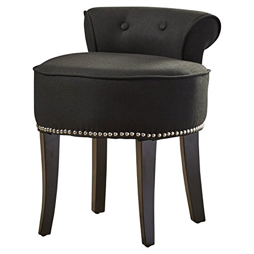Solid Vanity Stool Made of Wood Upholstery Material is Linen This Adorable Vanity Chair is Petite Enough to Tuck in a Bathroom or Bedroom and Brimming with Feminine (Birch Traditional Chair)