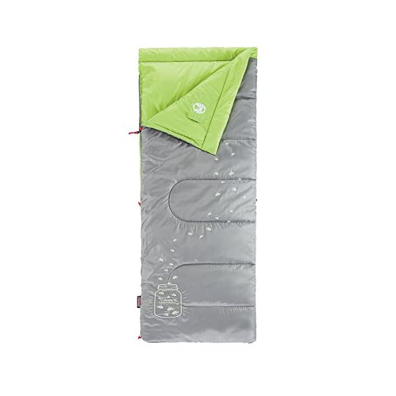 Coleman Plum Fun 45 Youth Sleeping Bag 2 Youth sleeping bag for camping in mild temperatures as low as 45°F Can accommodate children up to 5 feet 5 inches tall ThermoTech insulation and ComfortCuff help keep kids cozy