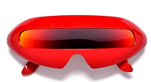 Futuristic Cyclops Mirror Single Lens Oval Sunglasses (Red, - Robot Sunglasses