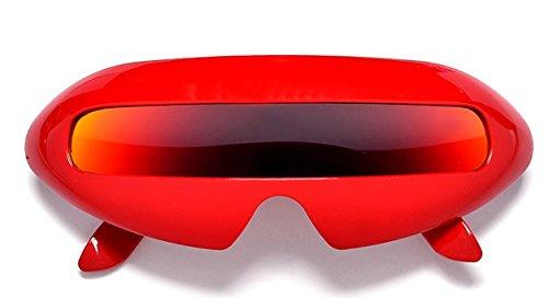 Futuristic Cyclops Mirror Single Lens Oval Sunglasses (Red, - Sunglasses Robot