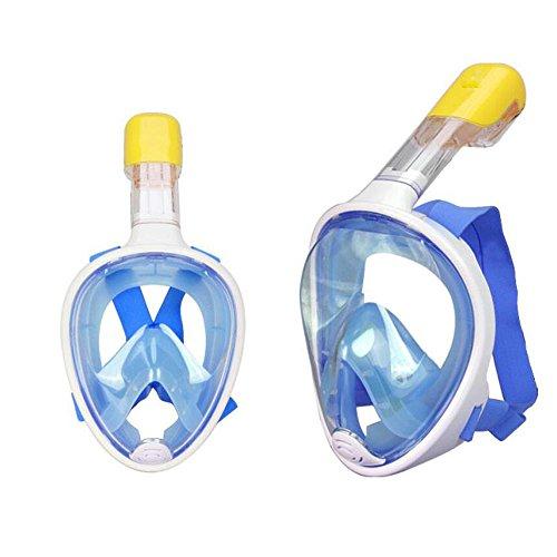 180 ° Ansicht Schnorchelmaske Volles Gesicht Freie Atementwurf Schnorcheln mit Anti-fog & Anti-leck, verhindern Gag-Reflex mit Tubeless Design für Erwachsene und Jugend (Blue, S/M)