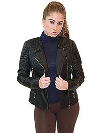 Womens Faux Leather Moto Biker Jacket with Pockets cbf45274b0