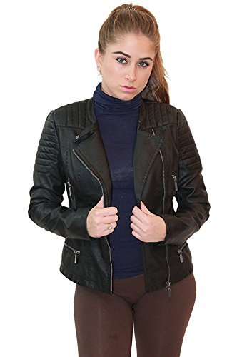 (Womens Faux Leather Zip Up Moto Biker Jacket JK5207SX Black)