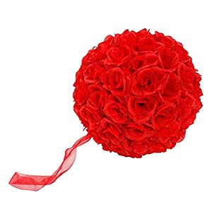 """Artificial Flowers, Big Red Simulation Flower Rose Bouquet Fake Flowers Silk Plastic Artificial Roses Bridal Wedding Bouquet for Home Garden Party Wedding Decoration 9.84"""""""" / 25cm Red 74"""