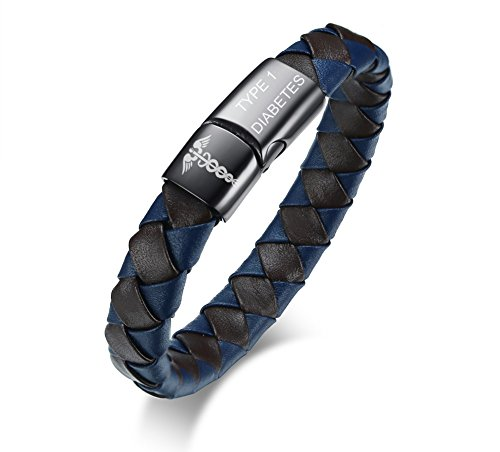 VNOX Medical Symbol Caduceus TYPE 1 DIABETES Genuine Leather Braided Stainless Steel Magnetic Clasp Cuff Bracelet by VNOX