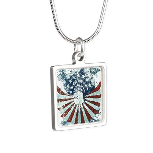 (Silver Square Necklace US Flag Eagle Military American Pride)