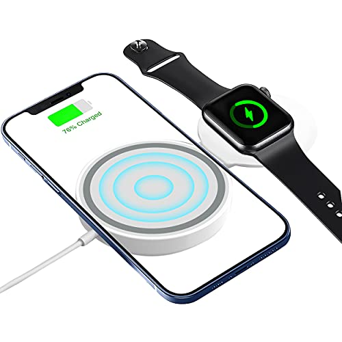 Wireless Charger Cable 2 in 1 for Apple Watch and iPone, Charging Pad Compatible with iPhone 13/13 Mini/ 13 Pro/13 Pro Max/iPhone 12/12 Mini/ 12 Pro/12 Pro Max & Apple Watch Series SE/6/5/4/3/2/1