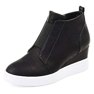Athlefit Women's Platform Wedge Sneakers Wedge Booties Ankle Heels Size 7.5 Black