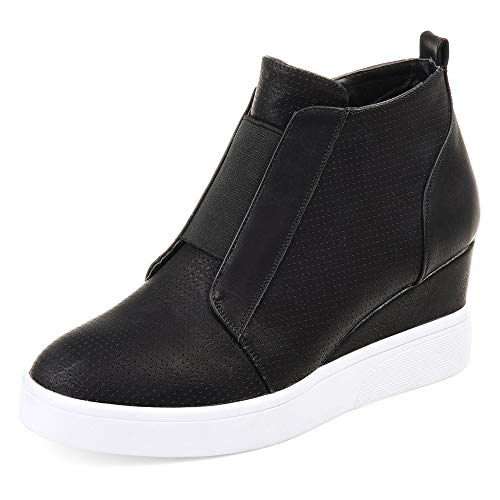DEARWEN Women's Heel Platform Casual Sneakers Zipper Wedge High Top Sports Shoes