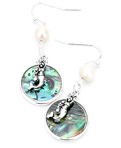 Pizazz Studios Abalone Mermaid Dangle Earrings for sale  Delivered anywhere in USA