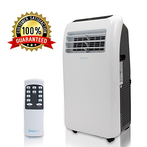 - SereneLife 12,000 BTU Portable Air Conditioner, 3-in-1 Floor AC Unit with Built-in Dehumidifier, Fan Modes, Remote Control, Complete Window Mount Exhaust Kit for Rooms Up to 450 Sq. ft,