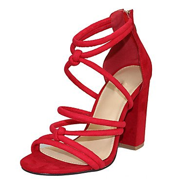 LvYuan Mujer Sandalias Tejido Verano Cremallera Tacón Robusto Negro Rojo 10 - 12 cms ruby
