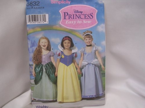 Disney Princess Halloween Costume ; Easy to Sew Simplicity 5832 ; Size A 3 4 5 6 7 8 (Easy Disney Costume)