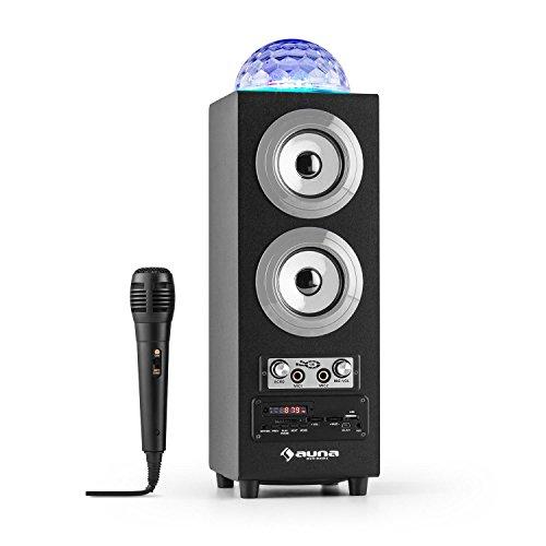 ... Luces LED • FM • MP3 • SD USB • Mini USB • AUX • Micrófono • Control de Volumen • Mando Distancia • Batería portátil • Plateado: Amazon.es: Electrónica