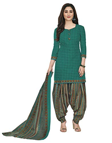 Miraan Women's Cotton Unstitched Dress Material (SGPRI519, Green, Free Size)