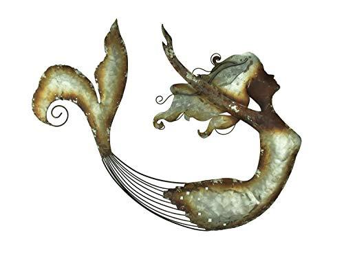 (Moby Dick Specialties Distressed Metal Art Swimming Mermaid Wall Sculpture)