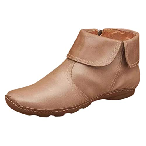 Women Vintag Soft Leather Boots with Arch Support Casual Flat Round Toe Shoes Oxford Zipper Ankle Booties