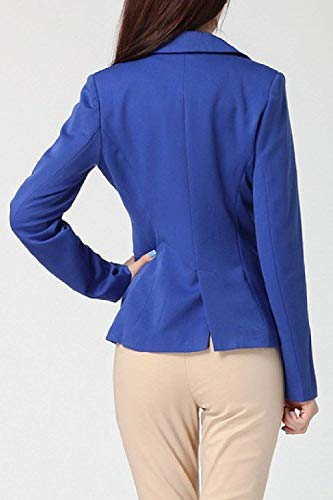 Lunga Primaverile Ragazza Fit Giacca Manica Con Autunno Ufficio Da Donna Slim Cappotto Tasche Casual Puro Colore Tailleur Blau Moda Blazer Business Giacche Vintage Button Eleganti xHOpq4