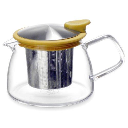 Forlife Bell Glass Teapot with Basket Infuser, 14-Ounce/430ml, Mandarin