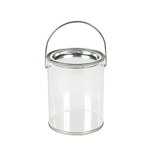 Plastic Clear Paint Can Container Craft Decorating Artist Buckets - Great for Party or Baby Shower Decorations]()