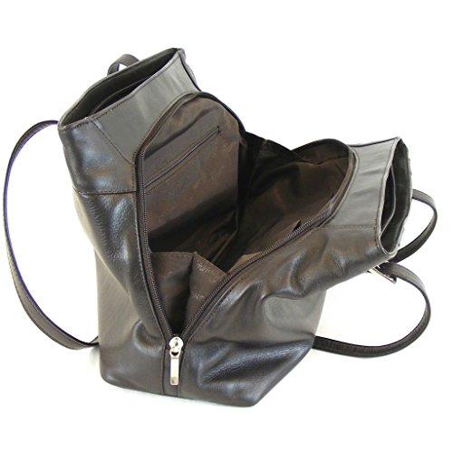 Pavini - Bolso de tela de Piel Lisa para mujer Marrón marrón oscuro mittelgroß