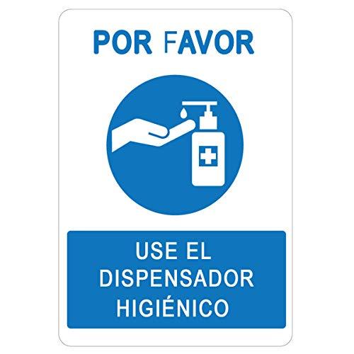 Senalizacion COVID-19 | Cartel Dosificador Higienico para empresas, comercios, oficinas | Senal Coronavirus | Autoinstalable y Resistente al Agua | 21 x 30 cm | Descuentos por Cantidad