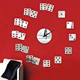 Create Surface Clock Creative Poker Mahjong Mirror Surface Sticker DIY Wall Clock Home Decor Wall Clock Bedroom Living/Meeting/Study Room Decoration (Random)