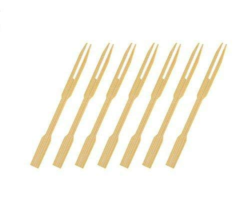 CDOFFICE 320 PCS Mini Bamboo Cocktail Fork Sticks Fruit Picks for Parties Buffets Food Tastings