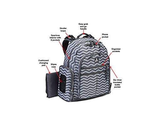 BB Gear Grey Chevron Stripe Diaper Bag - Lightweight, Roomy, Bookbag Design with Wipes Holder