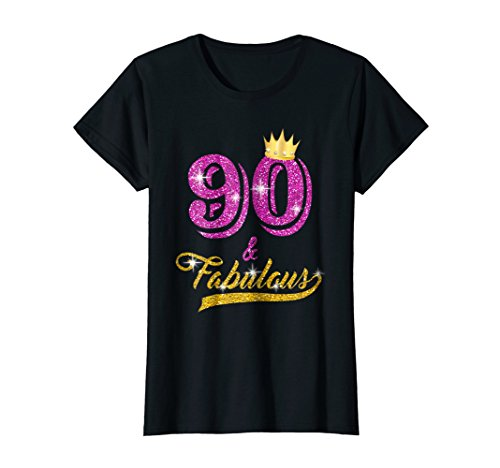 Womens 90 And Fabulous T Shirt Yrs Old B Day 90th Birthday Gift