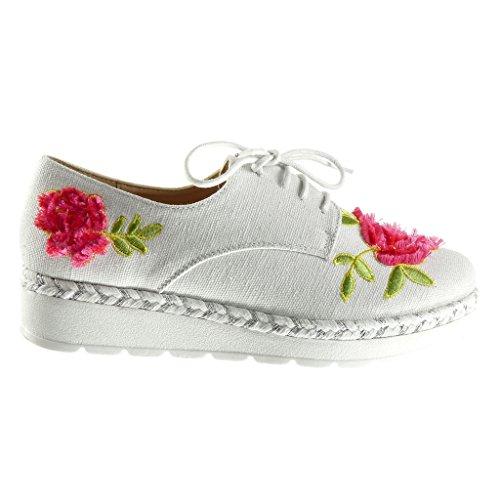 Angkorly - Chaussure Mode Derbies plateforme femme fleurs lignes tréssé Talon compensé plateforme 3 CM - Blanc