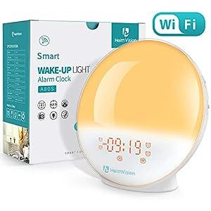 HeimVision Sunrise Alarm Clock, Smart Wake up Light Sleep Aid Digital Alarm Clock with Sunset Simulation and FM Radio, 4 Alarms /7 Alarm Sounds/Snooze/20 Brightness