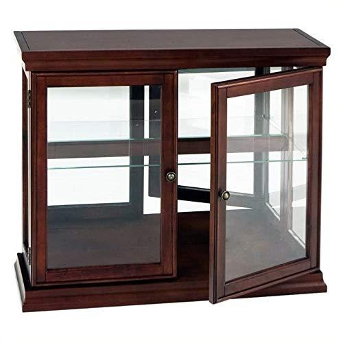 Pemberly Row Mahogany Curio Console Sofa Table with Glass Doors, Glass Shelf