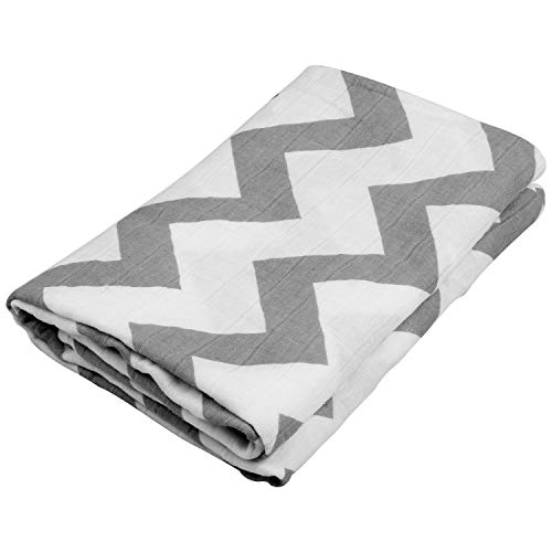 Swaddle Blankets for Baby,100% Cotton Muslin 47 x 47 inch Baby Blankets Cloth Diapers for Wrapping and Swaddling Infants (Grey Waves)