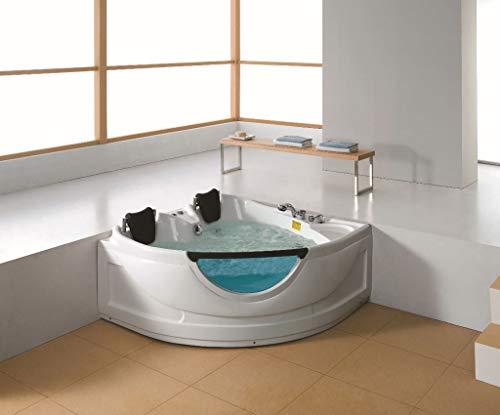 (SDI Factory Direct 2 Person Corner Hydrotherapy Whirlpool Bathtub Spa Massage Therapy Hot Bath Tub w/Heater. LED Lights, Bluetooth, Remote Control - SYM150150A)
