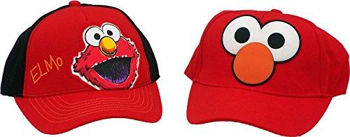 Elmo Cap - Sesame Street Elmo Boys Baseball Cap Red UPF 50+ Sun Hat Coppertone (Set of 2)