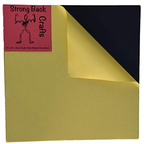 Double Sided Adhesive Foam Sheets 10in x 10in (4pack)-Black, 3mm Thick-Large 2-Sided Sticky Adhesive Foam Pads